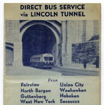 Image of Direct Bus Service via Lincoln Tunnel From... To Public Service Times Square Terminal. Issued spring to summer 1939. - Brochure