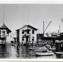 Image of B+W photo of Rosedale Boat Club (left) & Atlantic Boat Club clubhouses on Hudson River between 4th & 5th Sts., Hoboken, n.d., ca. 1890-1900. - Print, Photographic