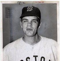 Image of B+W photo of Hoboken native Leo Kiely in Boston Red Sox baseball uniform, n.p., n.d., ca. 1954-1959 - Print, Photographic