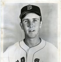 Image of B+W photo of baseball player Dick Brodkowski posed in Boston Red Sox baseball uniform, n.p., 1952. - Print, Photographic