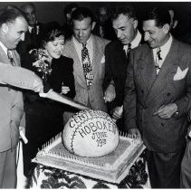 Image of B+W photo of cake cutting ceremony for Baseball Centennial Celebration, Hoboken, June 19, 1946. - Print, Photographic