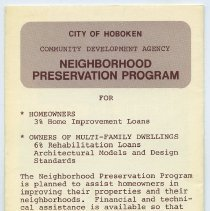 Image of Brochure: City of Hoboken. Community Development Agency. Neighborhood Preservation Program. N.d., ca.1975-1976. - Brochure