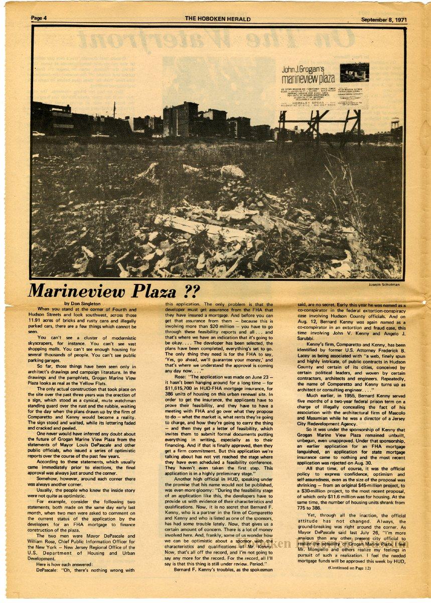 Newspaper: The Hoboken Herald, Vol. 1, No. 1; Sept. 8, 1971. - Newspaper