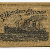 Image of Wallet, ticket: F. Missler, Bremen. Bahnhofstrasse 30. Polish language issue. N.d., ca. 1897-1914. - Wallet