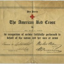 Image of Certificate of Recognition from American Red Cross to Mrs. Frank P. Markey, for service. No date, ca. 1917-1919. - Certificate, Achievement
