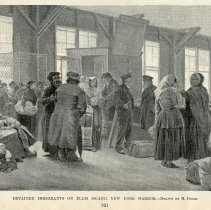 Image of illustration only: Detained Immigrants on Ellis Island, New York Harbor.