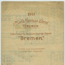 Image of Cabin Plan, S.S. Bremen, North German Lloyd Steamship Co., Bremen, August 1911. - Plan