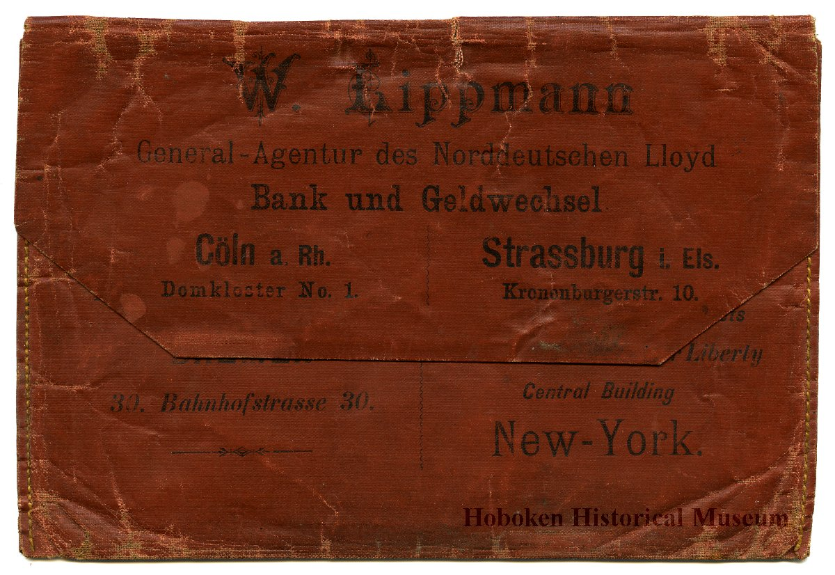 Wallet Ticket Issued By W Lippman Agent North German Lloyd Ss Steam 201 Title