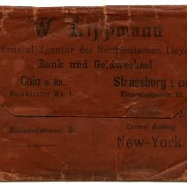 Image of Wallet, ticket: issued by W. Lippman, Agent, North German Lloyd S.S. Co., Cologne (Germany), n.d., ca. 1885-1895. - Wallet