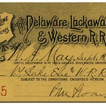Image of Pass: Delaware, Lackawanna & Western R.R. Co.; issued to W.A. May, N.Y., Lake Erie & Western R.R Co., for travel over Main Line & Branches, 1895. - Pass