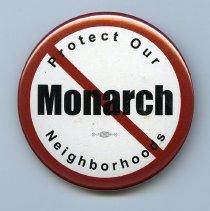 Image of Button: [No] Monarch. Protect our Neighborhoods. (Hoboken 2012-2013) - Button, Political