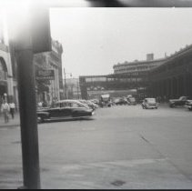 Image of B+W photo negatives, 3, of Hudson Place from River St., Hoboken, with PSCT terminal & Lackawanna Terminal, n.d., ca.1945-1949. - Negative, Roll Film