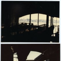Image of Color photos, 2, of Hudson River & N.Y. City from a ferry slip in the former ferry section of Hoboken Terminal, Hoboken, Oct. 1984. - Print, Photographic