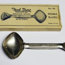 Image of Medicine spoon: Next Dose Medicine Spoon No. 182. Issued by Willow Pharmacy, 904 Willow Ave., Hoboken. N.d., ca. 1930-1950. - Spoon, Medical