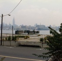 Image of Color photo of view east of former piers near Fifth Street & Hudson River, Hoboken, July 1985.  Color photo of waterfront looking south from near Seventh St., Hoboken, July 1985.  - Print, Photographic