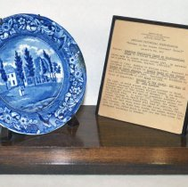 "Image of ""Hoboken in New Jersey (Stevens' House)"" plate on stand with plaque"