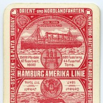 Image of playing card: Hamburg Amerika Linie; top, steamship: S.S. Deutschland (3) 1