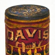 Image of Can, sample: Davis OK Baking Powder. Can (2 oz?); Free Sample. R. B. Davis Co., N.Y.; Factory: Hoboken, n.d., ca. 1906-1916.  - Can
