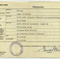Image of duplicate baptism certificate: front
