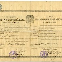 Image of Greek visa/passport for Demetrius Loures or Louris