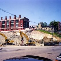 Image of Color photo of removal of hill south of Sixth St. at Frank Sinatra Drive, Hoboken, Summer 2002. - Print, Photographic