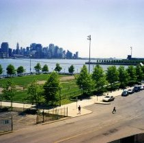 Image of Color photo of Frank Sinatra Memorial Park from Castle Point, Hoboken, Summer 2002. - Print, Photographic