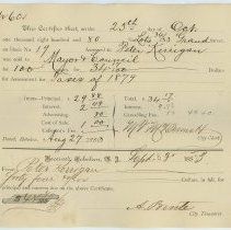 Image of Assessment redemption receipts, 25, for properties of Peter Kerrigan, Grand St. Hoboken, for paid assessments, Sept. 3, 1883. - Form