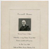 Image of pg [1] Farewell Dinner, Reverend Lester A. Quinn (photo)