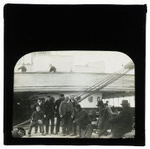 Image of B+W lantern slide of Irish immigrants on deck of a ship, n.p. (U.K.), 1898. - Transparency, Lantern Slide