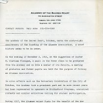 Image of Press release: The Academy of the Sacred Heart, Hoboken, re Alumnae Association for Annual Luncheon to be held Feb. 25th (1983.) - Release, News