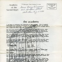 Image of Newsletter: The Academy. Alumnae Association of The Academy of the Sacred Heart, Hoboken, 1st issue, n.d., ca. Spring 1982. - Newsletter