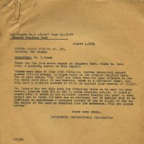 Image of letter to U.S. Testing from Hemisphere International Corp.