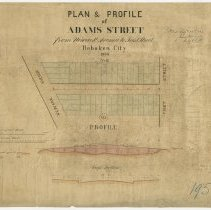 Image of Plan and Profile of Adams Street from Newark Avenue to First Street, Hoboken, 1866. - Map
