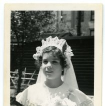 Image of B+W photos, 3, of Mary Anne Amoroso, First Communion, Hoboken, 1953. - Photograph