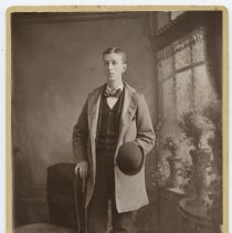 Image of Cabinet photo of young man posed in photographer's studio, Hoboken, N.J., n.d., ca. 1895-1910. - Photograph, Cabinet
