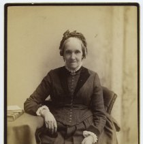 Image of Cabinet photo of Great-Grandmother Lancy posed in photographer's studio, Hoboken, n.d., ca. 1889-1892.  - Photograph, Cabinet
