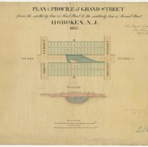 Image of Plan and Profile of Grand Street from the Northerly Line of First Street to the Southerly Line of Second Street, (Hoboken, 1867.) - Map