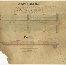 Image of Map and Profile of Adams Street from First Street to Third Street, Hoboken, (1867). - Map