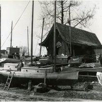 Image of B+W photo of the New Jersey Yacht Club (former N.Y. Yacht Club) building, 10th St. & Hudson River, Hoboken, n.d., ca. 1890-1900. - Print, Photographic
