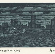 Image of Print: The Lower Hudson River (from the Erie-Lackawanna Pier in Hoboken)