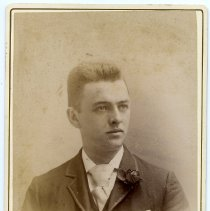 Image of Cabinet photo of young man posed in photographer's studio, Hoboken, Nov. 8, 1892. - Photograph, Cabinet