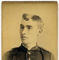 Image of Cabinet photo of man (Arthur) in military uniform, no date, circa 1885-1890. - Photograph, Cabinet