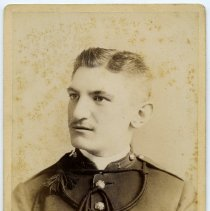 Image of Cabinet photo of man with mustache in military uniform, no date, circa 1885-1890. - Photograph, Cabinet
