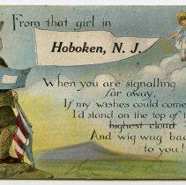 "Image of Postcard: ""From that girl in Hoboken, N.J."" Soldier pennant postcard from Rose Beck of 600 Monroe St., Hoboken, to fiance Pvt. George Jaxel, Camp Dix, N.J. Postmarked Hoboken, Aug. 7, 1918. - Postcard"