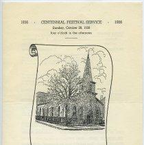 Image of Program: Centennial Festival Service, 1856-1956. Reformed Church of Hoboken, 6th & Garden Sts., Oct. 28, 1956. - Program