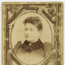 Image of Cabinet photo of Ella Lavina Kelly Harvey (1862-1934), aunt of Mabel Bolles, Hoboken, n.d., ca. 1893-1898. - Photograph, Cabinet