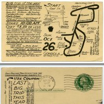 Image of 2: Oct. 26, 1937 railran trip; front + back