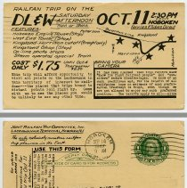 Image of 1: October 11, 1947 railfan trip; front + back
