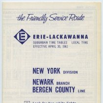 Image of Timetables, 2: Erie Lackawanna R.R., Suburban Time Tables, N.Y. Division, Newark Branch, Bergen County Line, eff. Apr. 30. 1961; Oct. 28, 1962. - Timetable
