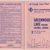 Image of Timetables, 3: Erie Lackawanna R.R., Suburban Time Tables, Greenwood Lake Division, Caldwell Branch. Eff. Apr.30, 1961; Oct. 28, 1962; Apr. 28, 1963. - Timetable
